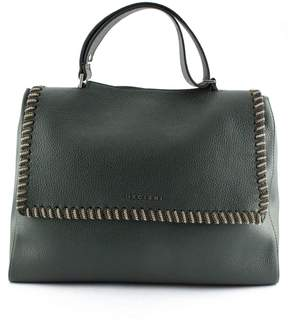 Orciani Green Leather Sveva Large Bag.