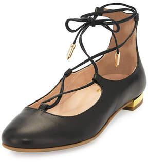 Aquazzura Christy Mini Leather Lace-Up Flat, Black, Toddler/Youth