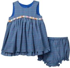 Laura Ashley Gauze Checkered Dress (Baby Girls)