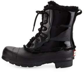Hunter Womens Patent Leather Rubber Square Toe Mid-calf Cold Weather Boots.