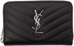 Saint Laurent Black Small Monogram Zip Around Wallet