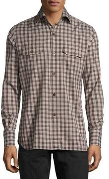 Tom Ford Check Cotton Military Shirt, Brown