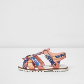 River Island Mini girls orange tropical T-bar sandals
