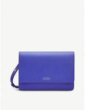 Smythson Blue Panama Cross Grained Leather Purse With Strap