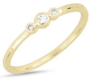 Bony Levy 18K Yellow Gold Bezel 3 Diamond Ring - 0.05 ctw