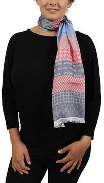 Moschino Dm1 D1204/1 Red/blue Signature Pattern Scarf.