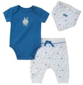 Absorba Baby Boy's Three-Piece Cotton Bunny-Print Creeper Bodysuit, Pants and Bib Set