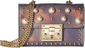 Steve Madden Prince Push Lock Mini FLAPOVER Crossbody with Pearls