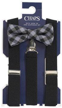 Chaps Boys 4-20 Plaid Bow-Tie & Suspenders Set