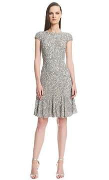 Theia Cap Sleeve Crunchy Sequin Dress.