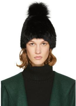 Yves Salomon Black Fur Pom Pom Beanie