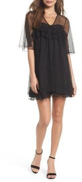 Chelsea28 Women's Mesh Dot Babydoll Dress