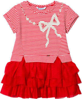 Mayoral Red Diamante Bow Stripe Tulle Dress