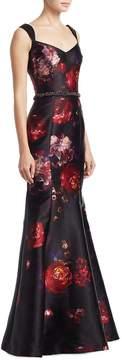 David Meister Women's Sleeveless Beaded Belt Gown