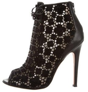 Giambattista Valli Mesh Lace-Up Ankle Boots