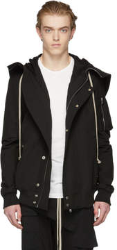 Rick Owens Black Short Hooded Bomber Coat