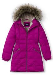Lands' End Little Girls Fleece Lined Down Coat-Raspberry