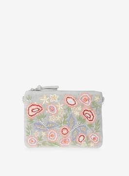 Dorothy Perkins Grey Floral Embroidered Clutch Bag