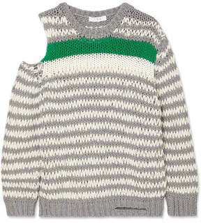 IRO Clapish Cold-shoulder Striped Cotton-blend Sweater - Gray