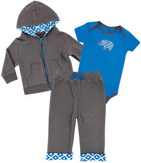 Luvable Friends Blue & Gray Elephant Hoodie Set - Newborn & Infant