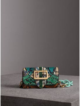 Burberry The Small Buckle Bag in Riveted Snakeskin and Floral Print