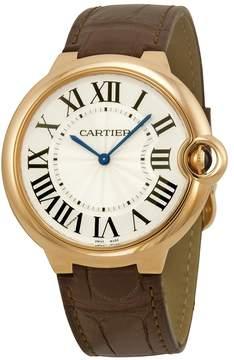 Cartier Ballon Bleu Silver Dial Brown Alligator Leather Men's Watch