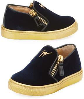 Giuseppe Zanotti Girls' London Laceless Velvet Low-Top Sneaker, Infant/Toddler Sizes 6M-9T