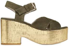 Strategia 90mm Suede Cork Platform Wedges