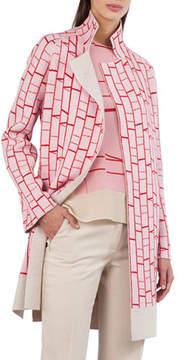 Akris Open-Front Reversible Striped Cashmere Knit Cardigan Coat