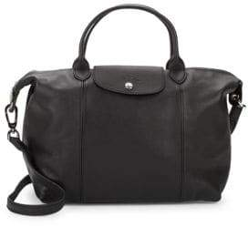 Longchamp Le Pliage Cuir Leather Medium Top Handle Bag - BLACK - STYLE