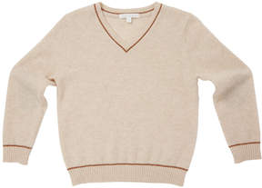 Marie Chantal Boys Cashmere V-Neck Sweater - Oatmeal