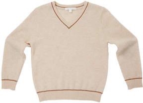 Marie Chantal Boys Cashmere V-Neck Sweater - Oatmeal