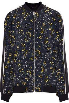 Belstaff Floral-Print Crepe De Chine Bomber Jacket