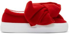 Joshua Sanders Red Felt Bow Platform Slip-On Sneakers