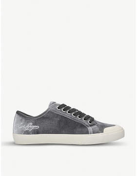 Kurt Geiger London Levvy velvet low-top trainers