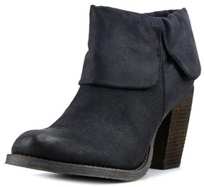 Luichiny Brush Up Women Round Toe Leather Black Ankle Boot.