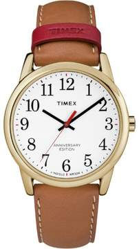Timex Men's Easy Reader 40th Anniversary Tan/White Watch, Leather Strap