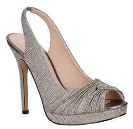 Nina Felyce Shimmer Textile Slingbacks
