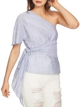 1 STATE 1.STATE One-Shoulder Striped Waist-Tie Top