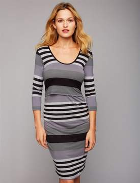 A Pea in the Pod Pull Down Mock Layer Nursing Dress