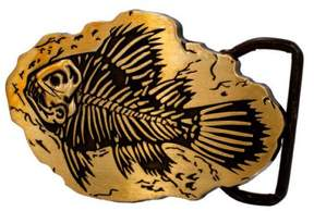 Fossil Buckle Rage Large Prehistoric Fish Belt Buckle, BRONZE, 101