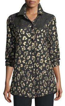 Caroline Rose Golden Leopard-Print Boyfriend Shirt
