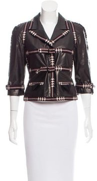 Chanel Tweed-Trimmed Leather Jacket