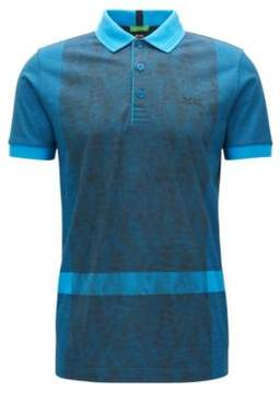 BOSS Hugo Interlock Cotton Polo Shirt, Slim Fit Paule L Open Blue