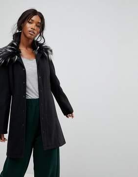 Brave Soul Davina Coat With Faux Fur Collar