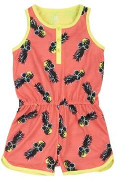 Petit Lem Girl's Pineapple Summer Romper