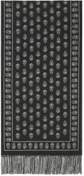 Alexander McQueen Grey and Silver Upside Down Skull Scarf