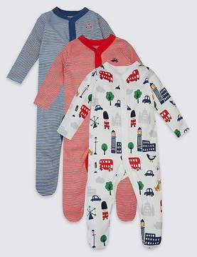 Marks and Spencer 3 Pack Pure Cotton Baby Sleepsuits