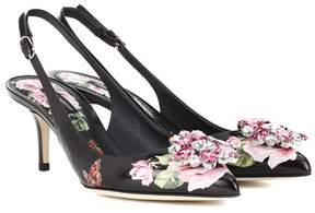 Dolce & Gabbana Embellished leather slingback pumps