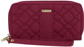 Travelon RFID Blocking Signature Quilted Double Zip Clutch Wallet